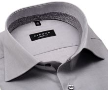 Koszula Eterna Comfort Fit – szara z kołnierzykiem wewnętrznym i mankietem