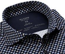 Koszula Olymp Super Slim 24/Seven – luksusowa elastyczna granatowa z niebiesko-beżowym wzorem