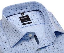 Koszula Olymp Luxor Modern Fit – designerska jasnoniebieska z delikatną strukturą w kółeczka - extra długi rękaw
