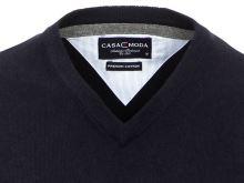 Bavlněný svetr Casa Moda – tmavě modrý - extra prodloužený rukáv