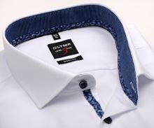 Koszula Olymp Level Five – biała o delikatnej strukturze, z niebieskim kołnierzykiem wewnętrznym