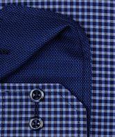 Koszula Eterna Modern Fit – w niebieską kratkę z wewnętrznym kołnierzykiem i mankietem