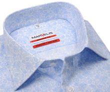 Koszula Marvelis Modern Fit - designerska z jasnoniebieskim wzorem paisley - extra długi rękaw