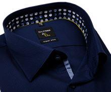 Koszula Olymp Super Slim – ciemnoniebieska z wyszytym wzorem, wewnętrzną stójką i mankietem