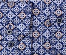 Koszula Eterna Comfort Fit - designerska z biało-niebiesko-brązowymi ornamentami - extra długi rękaw