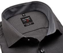 Koszula Olymp Level Five – antracytowa z wyszytym wzorem, wewnętrzną stójką i mankietem