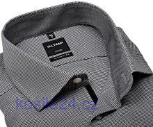 Koszula Olymp Luxor Modern Fit – czarno-biała ze wzorem, kołnierzykiem, mankietami i plisą