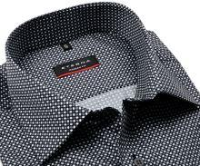 Koszula Eterna Modern Fit - czarna z szaro-białym wzorem - extra długi rękaw