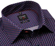 Koszula Olymp Level Five – ciemnoniebieska z czerwono-białym wzorem - extra długi rękaw