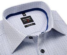 Koszula Olymp Level Five – biała z wyszytą ciemnoniebieską krateczką - krótki rękaw