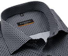 Koszula Eterna Slim Fit - czarna z szaro-białym wzorem - super długi rękaw