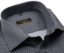 Koszula Eterna Slim Fit - czarna z szaro-białym wzorem