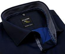Koszula Olymp Super Slim – ciemnoniebieska z niebiesko-białym wzorem w stójce - extra długi rękaw