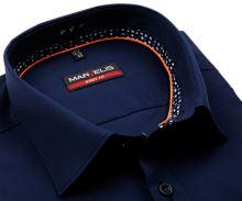 Koszula Marvelis Body Fit – ciemnoniebieska z wewnętrzną stójką - extra długi rękaw