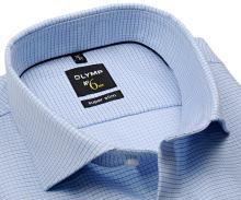 Koszula Olymp Super Slim – jasnoniebieska z delikatną strukturą w niebieską kratkę - extra długi rękaw