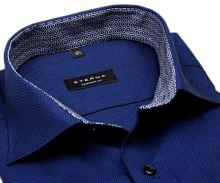 Koszula Eterna Comfort Fit – ciemnoniebieska o delikatnej strukturze z wewnętrzną stójką - krótki rękaw