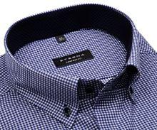 Koszula Eterna Comfort Fit Twill – w ciemnoniebieską kratkę z wewnętrzną stojką i mankietem