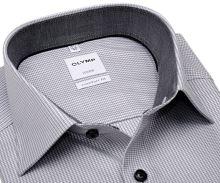 Koszula Olymp Luxor Comfort Fit  – z szarym wzorem, wewnętrzną stójką i mankietem