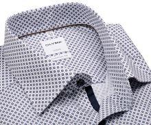 Koszula Olymp Comfort Fit – biała z ciemnoniebieskim wzorem i wewnętrznym mankietem - extra długi rękaw