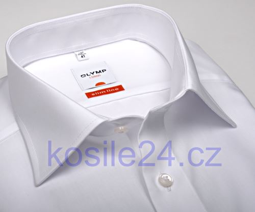 Koszula Olymp Luxor Modern Fit Uni Popeline - biała o kroju slim