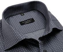 Koszula Eterna Comfort Fit - z czarno-szarym wzorem - krótki rękaw
