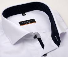 Koszula Eterna Slim Fit Cover - biała luksusowa i nieprześwitująca z granatową stójką - super długi rękaw