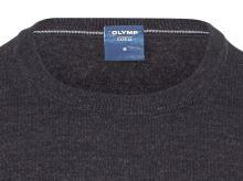 Sweter Olymp z wełny Merino - dekolt okrągły - antracytowy