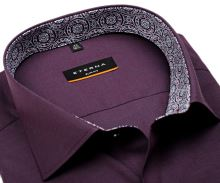 Koszula Eterna Slim Fit Stretch Non Iron – fioletowa z niebiesko-ruźovą wewnętrzną stójką i mankietem