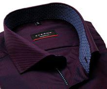 Koszula Eterna Modern Fit Twill – ciemna czerwono-niebieska z kołnierzykiem wewnętrznym - extra długi rękaw