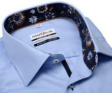 Koszula Marvelis Comfort Fit – jasnoniebieska z diagonalnym wzorem, wewnętrzną stójką i mankietem