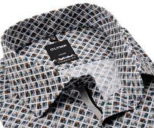 Koszula Olymp Modern Fit – z szaro-beżowa mozaiką i wewnętrzną plisą