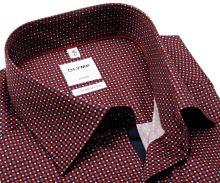 Koszula Olymp Comfort Fit – czerwono-niebieska z wzorem i ciemnoniebieską wewnętrzną plisą - krótki rękaw