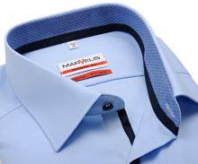 Koszula Marvelis Modern Fit – jasnoniebieska z wyszytym wzorem, wewnętrzną stójką i plisą