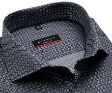 Koszula Eterna Modern Fit - z czarno-szarym wzorem - krótki rękaw