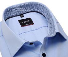 Koszula Venti Body Fit – jasnoniebieska z niebieską wewnętrzną stójką i mankietami