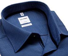 Koszula Olymp Comfort Fit – niebieska z delikatną strukturą, wewnętrznym mankietem i plisą - extra długi rękaw