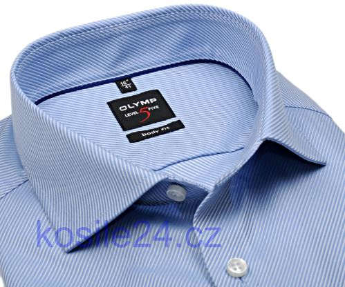 Koszula Olymp Level Five Diamant Twill – luksusowa, jasnoniebieska, ze strukt. diagonalną