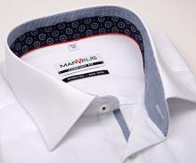 Koszula Marvelis Comfort Fit – biała z stojką wewnętrzną, mankietem i plisą
