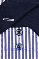 Koszula Eterna Comfort Fit Twill – w granatowe prążki, z kołnierzykiem wewnętrznym, mankietami i plisą