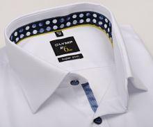 Koszula Olymp Super Slim – biała z wyszytym wzorem i wewnętrzną stójką - extra długi rękaw