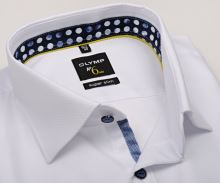 Koszula Olymp Super Slim – biała z wyszytym wzorem, wewnętrzną stójką i mankietem