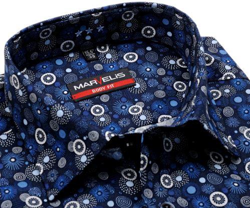 Koszula Marvelis Body Fit – designerska ciemnoniebieska z okrągłym wzorem - krótki rękaw