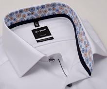 Koszula Olymp Modern Fit – biała z diagonalną strukturą i wewnętrzną stójką - extra długi rękaw