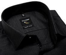 Koszula Olymp Super Slim – antracytowa koszula z wzorem, wewnętrzną stójką, mankietem i plisą