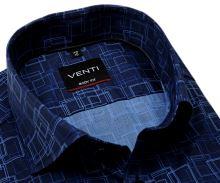 Koszula Venti Body Fit - designerska niebieska z nadrukowanym wzorem