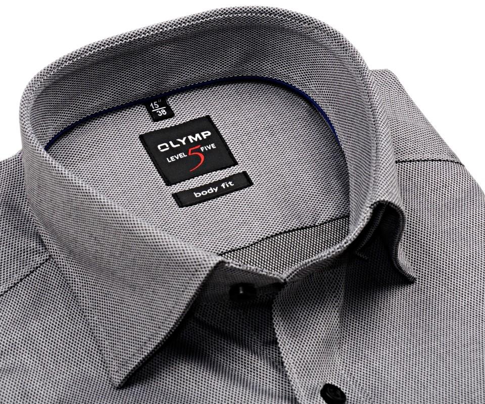 Olymp Level Five Diamant Twill – luxusní šedá košile s jemnou strukturou 5b21a14aad