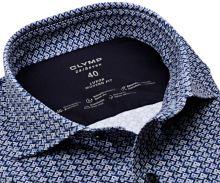 Koszula Olymp Modern Fit 24/Seven – luksusowa elastyczna ciemnoniebieska z białym wzorem