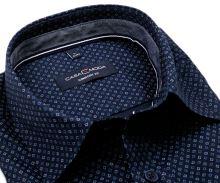 Koszula Casa Moda Comfort Fit – granatowa w niebiesko-biały wzór z wewnętrzną stójką i mankietem