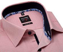 Koszula Olymp Level Five – z wyszytym czerwonym wzorem i wewnętrzną stójką - krótki rękaw