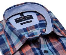 Casa Moda Casual Fit – lněná košile s barevným kárem - krátký rukáv